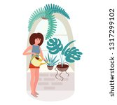 the girl at the window watering ... | Shutterstock .eps vector #1317299102