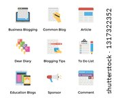 blogging flat icons pack  | Shutterstock .eps vector #1317322352