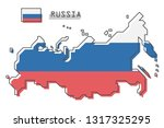 russia map and flag . modern... | Shutterstock .eps vector #1317325295