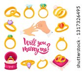 gold wedding wing  will you... | Shutterstock .eps vector #1317326495
