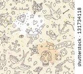 tattoo concept seamless pattern.... | Shutterstock .eps vector #131734118