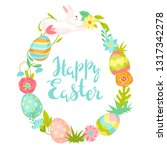 happy easter greeting card.... | Shutterstock .eps vector #1317342278