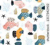 seamless pattern with creative... | Shutterstock .eps vector #1317342902