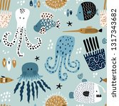 seamless pattern with creative... | Shutterstock .eps vector #1317343682