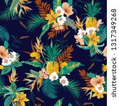 colorful retro dark tropical... | Shutterstock .eps vector #1317349268