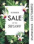 sale banner  poster with palm... | Shutterstock .eps vector #1317368852