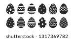 easter eggs collection. black...   Shutterstock .eps vector #1317369782