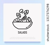 salad in bowl thin line icon.... | Shutterstock .eps vector #1317376298