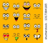 yellow set of cute happy smiley ... | Shutterstock .eps vector #1317384185