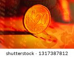 euro coin on stock chart.... | Shutterstock . vector #1317387812