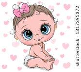 cute cartoon baby girl on a... | Shutterstock .eps vector #1317395372