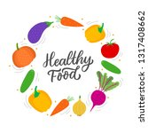 healthy food lettering with set ... | Shutterstock .eps vector #1317408662