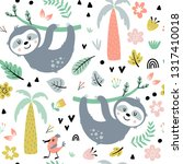 seamless pattern with cute... | Shutterstock .eps vector #1317410018