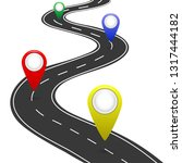 highway roadmap with pins. car...   Shutterstock .eps vector #1317444182