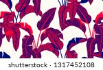 tropical plants seamless... | Shutterstock .eps vector #1317452108