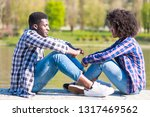 african american boy and girl... | Shutterstock . vector #1317469562