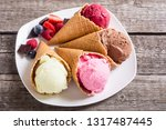 ice cream waffle cones with...   Shutterstock . vector #1317487445