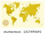 flat map world gold | Shutterstock .eps vector #1317495692