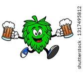 hop mascot running with beers   ... | Shutterstock .eps vector #1317495812