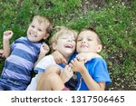 three happy young boys in... | Shutterstock . vector #1317506465