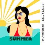 summer illustration with... | Shutterstock .eps vector #1317512138