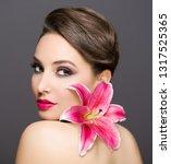 portrait of a gorgeous brunette ... | Shutterstock . vector #1317525365