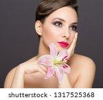 portrait of a gorgeous brunette ... | Shutterstock . vector #1317525368