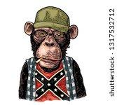 monkey smokes cigarette in... | Shutterstock .eps vector #1317532712
