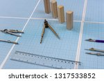 millimeter paper with tools and ... | Shutterstock . vector #1317533852
