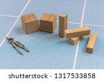 millimeter paper with draw... | Shutterstock . vector #1317533858