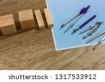 millimeter paper with draw... | Shutterstock . vector #1317533912
