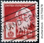Small photo of UNITED STATES OF AMERICA - CIRCA 1940: A stamp printed in USA shows Samuel Finley Breese Morse , circa 1940