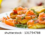 potato pancakes with salted... | Shutterstock . vector #131754788
