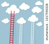 ladder from cloud. goal setting ... | Shutterstock .eps vector #1317550328