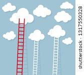 ladder from cloud. goal setting ...   Shutterstock .eps vector #1317550328