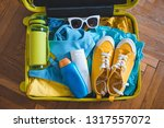 travel concept. yellow suitcase ... | Shutterstock . vector #1317557072