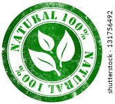 natural 100  grunge stamp  in... | Shutterstock . vector #131756492
