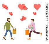men with flowers and gifts ...   Shutterstock .eps vector #1317565358