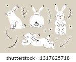 Stock vector easter set with bunnies spring or summer floral elements with little rabbits cute bunny with 1317625718