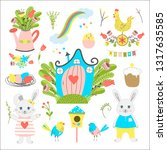 big collection of easter... | Shutterstock .eps vector #1317635585
