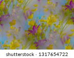 yellow and lilac wildflowers. | Shutterstock . vector #1317654722