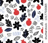 hand drawn floral seamless... | Shutterstock .eps vector #1317703085