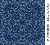floral motif sashiko style...   Shutterstock .eps vector #1317707768