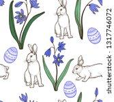easter seamless pattern. spring ... | Shutterstock .eps vector #1317746072