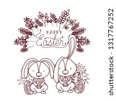 happy easter label with egg... | Shutterstock .eps vector #1317767252