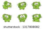 cute cartoon baby green... | Shutterstock .eps vector #1317808082