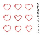 set of heart icons  linear... | Shutterstock .eps vector #1317847235