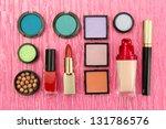 decorative cosmetics on pink... | Shutterstock . vector #131786576