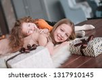 two pretty sisters lying on the ... | Shutterstock . vector #1317910145
