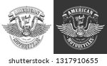 biker emblem with wings and... | Shutterstock . vector #1317910655